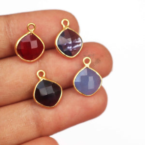 Amethyst,Iolite,Garnet,Natural chalcedony  Faceted Cushion Shape single Bail Pendant-14mmx10mm  SS137
