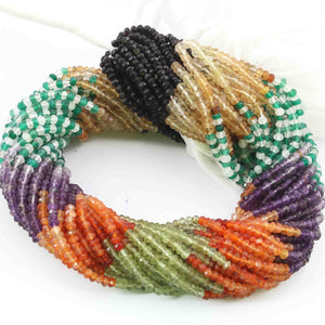 5 Strands Mix stone Faceted Rondelles Beads --Multi Stone Roundle Beads 4mm 13 Inches RB335 - Tucson Beads