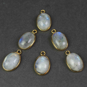10 Pcs White Rainbow Moonstone 24k Gold Plated Smooth Oval Single Bail Pendant- 18mmx11mm PC470 - Tucson Beads