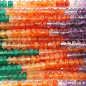 5 Strands Mix stone Faceted Rondelles Beads -Multi Stone Roundle Beads 4mm 13.5 Inches RB322 - Tucson Beads