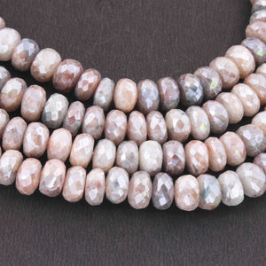 1 Strand Shaded Multi Moonstone Silver Coated Faceted Rondelles Beads 8-9mm 15 Inches BR1044 - Tucson Beads
