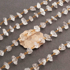 1 Feet Herkimer Diamond Quartz Nuggets Rosary Style 925 Sterling Vermeil Beaded Chain- 3mm-10mm- Gold wire Chain SRC025 - Tucson Beads