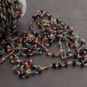 1 Feet Multi Tourmaline Rondelle Rosary Style 925 Sterling Silver Beaded Chain- 3mm-5mm- Silver wire Chain SRC024 - Tucson Beads