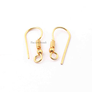 12 Pairs Copper Earring Hooks Wires Earring Hooks 24k Gold Plated  -Hooks Earring - 22mmx10mm GPC020 - Tucson Beads