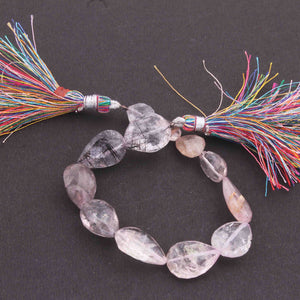 1 Strand Rose Quartz Faceted Heart Shape Center Drill Briolettes - Rose Quartz Briolettes .15mmx14mm 7 inches BR618 - Tucson Beads