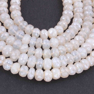 1 Long Strand White Silverite Faceted Rondelles  - Gemstone Rondelles 8mm 13 Inches BR927 - Tucson Beads