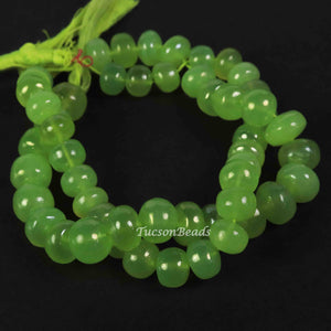 1 Strand Green Chalcedony Smooth Roundels - Green Chalcedony Roundels  Beads 11mmx10mm- 8 Inches BR3072 - Tucson Beads