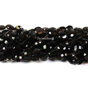 1  Strand Smoky Quartz Faceted   Briolettes -Coin Shape  Briolettes  10mmx9mm-8 Inches BR3103 - Tucson Beads