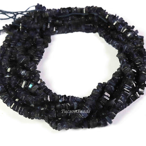 1 Long Strand Iolite Heshi Faceted Briolettes  -Square Shape  Briolettes  5mm- 16 Inches BR3125 - Tucson Beads
