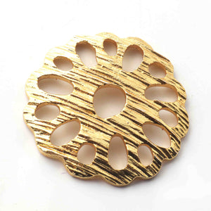5 Pcs 24k Gold Plated Scratch Flower Copper Charm, Designer Flower Charm, Jewelry Making Tools, 36mm gpc1121 - Tucson Beads