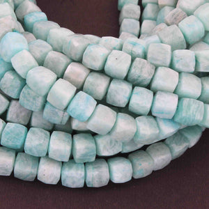 1 Long Strand Amazonite Faceted Cube Briolettes  - Faceted Briolettes  8mm  15 Inches long BR679 - Tucson Beads