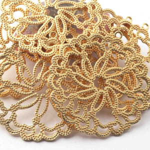 5 Pc 24k Gold Plated Copper Round Pendant, Jewelry Making Tools, 61mmx56mm gpc1131 - Tucson Beads