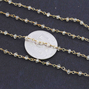 5 Feet Crystal Quartz 2-3mm Rosary Style Beaded Chain 24k Gold Plated Rosary Chain BDG034 - Tucson Beads