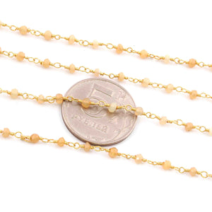 5 Feet Yellow Opal 2-3mm Rosary Style Beaded Chain 24k Gold Plated Rosary Chain BDG033 - Tucson Beads