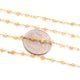5 Feet Yellow Opal 2-3mm Rosary Style Beaded Chain 24k Gold Plated Rosary Chain BDG033
