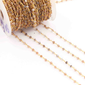 5 Feet Multi Moonstone Rosary Style Beaded Chain - Multi Moonstone Beads wire wrapped 24k Gold Plated chain BDG046