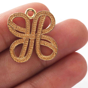 5 Pcs 24k Gold Plated Copper Fancy Pendant, Designer Charm Pendant, Jewelry Making Tools, 22mmx20mm, gpc1133 - Tucson Beads