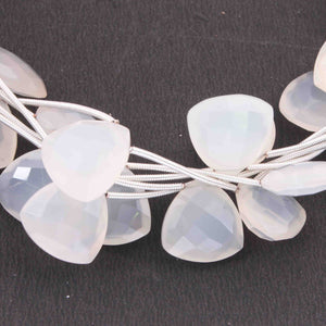 1 Strands Fine Making , Top Quality White chalcedony Faceted Briolettes - Trillion Shape  13mm-14mm-8 inches BR615 - Tucson Beads