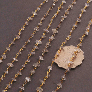 5 Feet Herkimer Diamond Quartz Nuggests Rosary Style 24k Gold plated Beaded Chain- 4mm-6mm- Gold wire Chain  SC272 - Tucson Beads