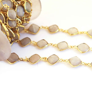 1 Feet  Gray Moonstone Square Shape 24k Gold Plated Bezel Continuous Connector Beaded Chain 19mmx12mm SC211