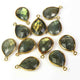 11 Pcs Labradorite 24k Gold Plated Faceted Pear Shape Gemstone Bezel Single Bail Pendant - 21mmx14mm  PC544 - Tucson Beads