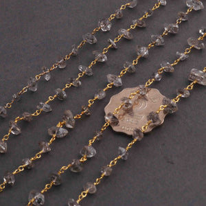 5 Feet Herkimer Diamond Quartz Nuggests Rosary Style 24k Gold plated Beaded Chain- 7mm-10mm- Gold wire Chain  SC273 - Tucson Beads