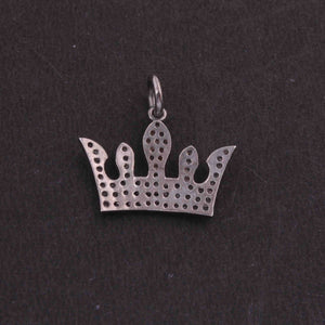 1 PC Pave Diamond Crown  Charm 925 Sterling Silver Pendant, 15mmx17mm SJPDC017 - Tucson Beads