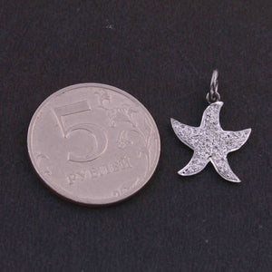 1 PC Pave Diamond Star Fish Shape Charm 925 Sterling Silver Pendant, 19mmx16mm SJPDC027 - Tucson Beads