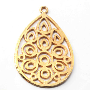 5 Pcs 24k Gold Plated Copper Pear Pendant, Copper Designer Pendant, Jewelry Making Tools, 48mmx35mm, gpc1109 - Tucson Beads