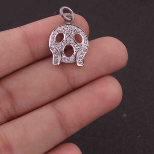 1 PC Pave Diamond Scary emoji Shape Charm 925 Sterling Silver Pendant, 20mmx15mm SJPDC018 - Tucson Beads