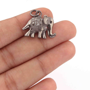 1 PC Pave Diamond Elephant Charm with Black Spinel Eye 925 Sterling Silver Pendant, 20mmx19mm SJPDC006 - Tucson Beads