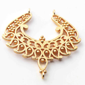 5 Pcs 24k Gold Plated Copper Fancy Pendant, Designer Fancy Charm, Jewelry Making Tools, 40mm, gpc1122 - Tucson Beads