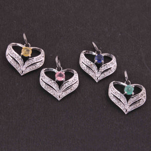 1 Pc Pave Diamond Multi stone Heart Charm 925 Sterling Silver Pendant, 15mmx16mm SJPDC036 - Tucson Beads