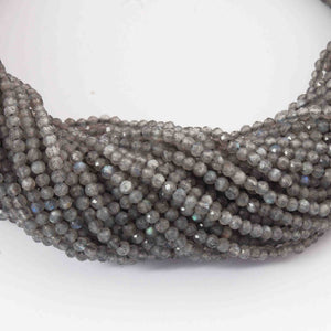5 Strands Labradorite Faceted Round Balls Beads - Labradorite Ball Beads 3mm 13 Inch RB303 - Tucson Beads