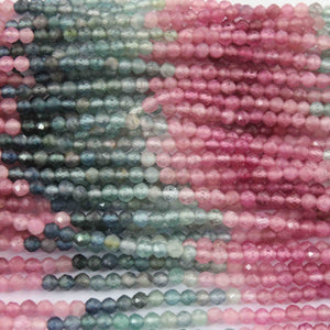 5 Strands Multi Tourmaline Faceted Ball beads ,Watermelon Tourmaline,Semi Precious Beads,Gemstone Beads 2mm-3mm 13.5 inch strand RB001 - Tucson Beads