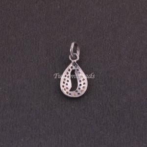 1 PC Pave Diamond  Pear Drop Charm Pendant ,925 Sterling Silver Charm, 16mmx9mm SJPDC038 - Tucson Beads