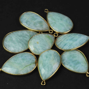 8 Pcs Beautiful Amazonite 24k Gold Plated  Faceted Pear Shape Gemstone Bezel Single Bile Pendant -27mmx18mm  PC575 - Tucson Beads