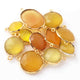 11 Pcs Yellow Chalcedony 24k Gold Plated Faceted Assorted shape Connector / Pendant  16mm-27mm PC002