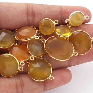 11 Pcs Yellow Chalcedony 24k Gold Plated Faceted Assorted shape Connector / Pendant  16mm-27mm PC002 - Tucson Beads