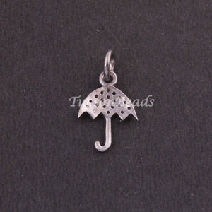 1 PC Pave Diamond Umbrella Charm Pendant ,925 Sterling Silver Charm, 16mmx11mm SJPDC040 - Tucson Beads