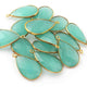 14 Pcs Aqua Chalcedony 24k Gold Plated Faceted Pear Drop Single Bail Pendant 29mmx16mm PC006