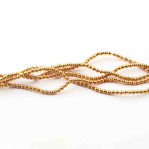 5  Strands Plain Balls Gold Plated Copper,Scratch Mat Finish Copper Smooth Balls,Jewelry Making Supplies 3mm 8 inches Bulk Lot GPC525 - Tucson Beads