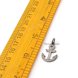 1 Pc Pave Diamond Anchor Shape Pendant - 925 Sterling Silver - Anchor Charm Pendant 23mmx15mm SJPDC088 - Tucson Beads