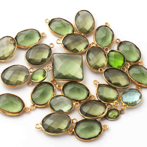 25 Pcs Green Amethyst & Peridot Faceted Assorted Shape 24k Gold Plated Pendant/Connector  13mm-20mm PC180