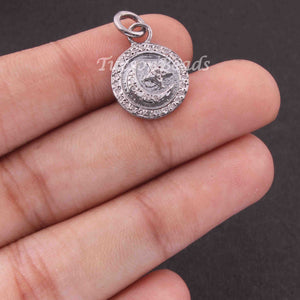 1 PC Pave Diamond Moon & Star With Round Shape Charm Pendant  ,925 Sterling Silver Charm, 17mmx14mm SJPDC053 - Tucson Beads