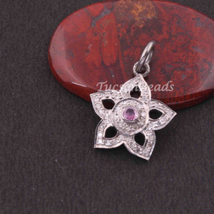 1 PC Pave Diamond  Flower  Shape Charm Pendant  ,925 Sterling Silver Charm, 19mmx15mm SJPDC063 - Tucson Beads