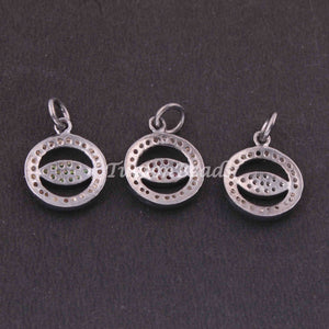 1 PC Pave Diamond  Round With Evil Eye Shape Charm Pendant  ,925 Sterling Silver Charm, 16mmx14mm SJPDC062 - Tucson Beads