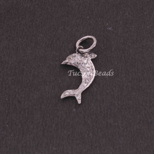 1 PC Pave Diamond Designer Dolphin Shape  Charm Pendant  ,925 Sterling Silver Charm, 18mmx4mm SJPDC049 - Tucson Beads
