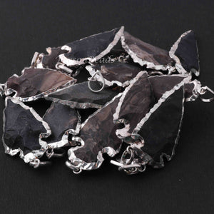 15 Pcs Black Jasper Arrowhead  925 Silver Plated Charm Pendant -  Electroplated With Silver Edge  41mmx26mm-11mmx7mm  AR277 - Tucson Beads