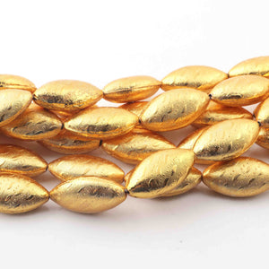 1 Strand Gold Plated Designer Copper Marquise Shape  ,Casting Copper Beads ,Jewelry Making Supplies 26mmx14mm 8 inches Bulk Lot GPC221 - Tucson Beads